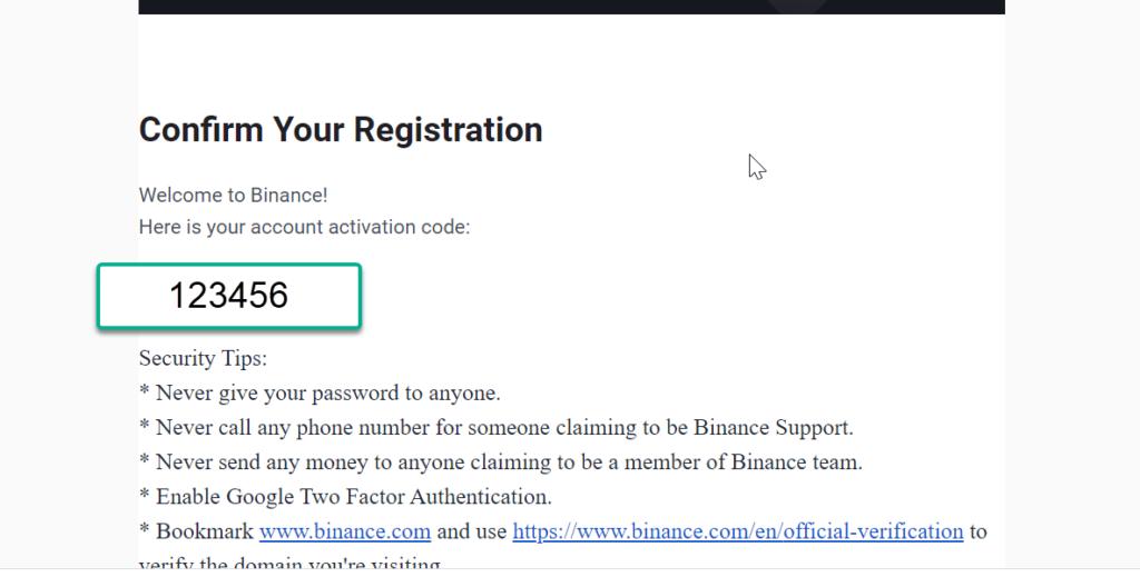 binance verification email